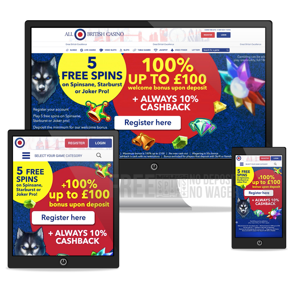 all-british-casino desktop, tablet, mobile view